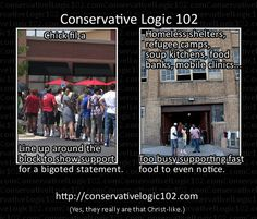 Conservative Logic Chick-fil-a Shelters. More /facepalm.