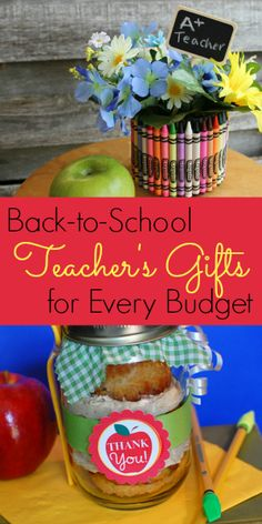 Back-to-School Teacher's Gifts for Every Budget  For additional resources please visit: http://www.smartappsforspecialneeds.com cupcak, teacher gifts, gift ideas, jar, homemade gifts, teacher appreciation gifts, craft projects, gift tags, caramel apples
