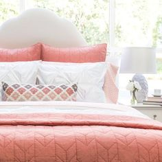 Bedroom inspiration and bedding decor | The Chevron Coral Quilt & Sham Duvet Cover | Crane and Canopy