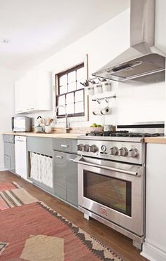 white kitchen with grey cabinets