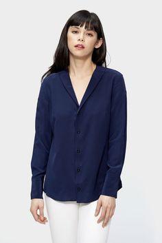 v neck silk blouse, silk blouse, siizu, navy silk blouse