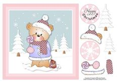 """Bella with Candy Teddy Bear Christmas Topper on Craftsuprint designed by Janet Roberts - This cute topper will fit the front of a 8"""" x 8"""" card blank but can be made smaller in any graphic program. Easy decoupage ..... a quick make! - Now available for download!"""