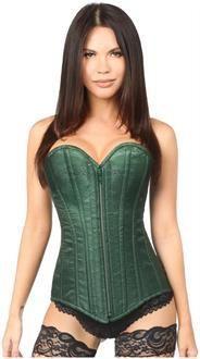 b67160b013 Women s Top Drawer Dark Green Brocade Steel Boned Corset Brocade Fabric