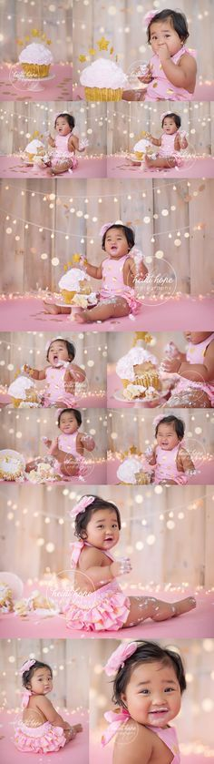 Pink   Pink + Gold   Cake smash   First Birthday   Heidi Hope Photography