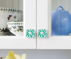 Color up your cabinets with our new Emerald Polka Dot glass knobs!