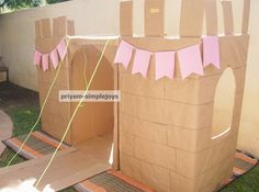Wanted to share a I made few days back with cardboard boxes, which we also used for our princess/pirate birthday. Cardboard Box Fort, Cardboard Toys, Princess Birthday Party Decorations, Princess Party, Pirate Birthday, 3rd Birthday, Castle Party, School Decorations, Recycled Crafts