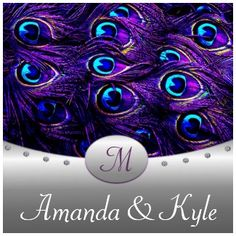 Purple Peacock Wedding Invitations.  This fun purple and blue peacock bird feather design is beautiful.