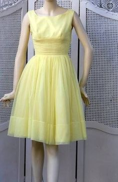 Vtg Union Pin-Up Made Yellow Organdy Tulle Ruched Waist Cocktail Party Dress