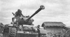 New Korean War - Conflict Photo: Patton Tank Passes Thru Kumko, Korea M26 Pershing, Tank Wallpaper, Patton Tank, Tank Destroyer, Armored Fighting Vehicle, Ww2 Tanks, World Of Tanks, Korean War, Armored Vehicles