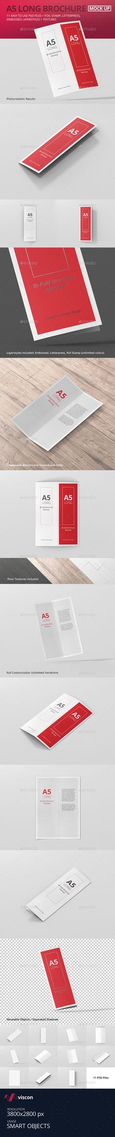 A5 Long Bi-Fold Brochure Mock-Up #graphicdesign #stationary #branding #identity #brochure #design