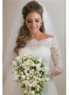$209 - 2014 Elegant Wedding Dress long Sleeve Sweep Train Zipper Back Vestidos De Noiva Applique White Lace Wedding Dress - www.suzhoudress.com