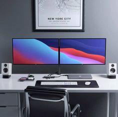 Best Computer Chairs, Computer Desk Setup, Gaming Room Setup, Pc Setup, Bedroom Setup, Room Design Bedroom, Home Office Setup, Office Nook, Office Inspo