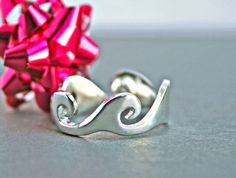 Silver Wave Ring, Ocean Wave Ring, Wave Jewelry, Ocean Wave Jewelry Ocean Jewelry Silver Trend Ring On Trend Trending Jewelry Trending Items