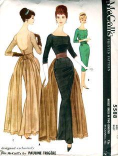 Vintage McCalls  Pauline Trigere Fishtail Cocktail / Evening Dress Pattern 5588 size 12 bust 32 UNCUT