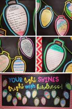 Lights of Kindness - Holiday Craft and Writing Activity! Celebrate KINDNESS for the months of December and January! What is included: Styles of Light Bulbs **Light bulbs with writing lines and without lines **Bulletin Board Kindness Activities, Christmas Activities, Writing Activities, Classroom Activities, Classroom Ideas, Christmas Printables, December Bulletin Boards, Winter Bulletin Boards, Classroom Bulletin Boards