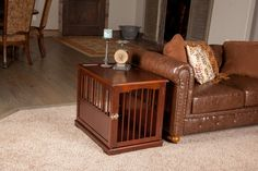 Wooden Dog Crates That Look Like Furniture - Luxury Crate End Tables Wooden Dog Crate, Diy Dog Crate, Dog Crates, Dog Crate Furniture, Find Furniture, Furniture Decor, Furniture Projects, Dog Crate End Table, Luxury Dog Kennels