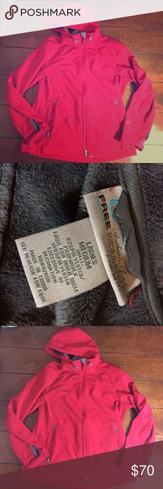 Free country aid shell winter coat Woman's size medium red with grey fuzzy lining free country coat. Very light wear. Dual zippers, adjustable wrists and zippered pockets. Chest measures 19 inches, sleeves measure 17 inches and this is 24 inches long. Free Country Jackets & Coats