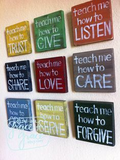 Want to make these for my hallway. set of 9, Proverbs 22:6 Teach Me Wood Blocks- going to make these myself instead of buying.