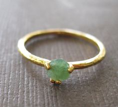Organic Raw Petite Emerald 22k Vermeil Stacking Clutch Cocktail Ring
