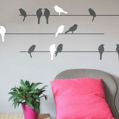 Birds on a Wire Wall Decal in White & Grey.