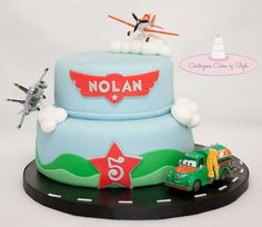 Disney's airplanes cake | themed cake YaY!!!! The birthday boy requested real toys on his cake ...