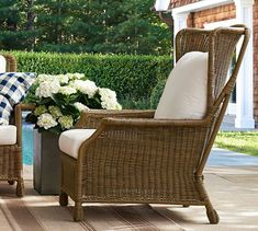 Saybrook All-Weather Wicker Armchair At Pottery Barn - Outdoor - Outdoor Lounge Furniture - Outdoor Chairs Wicker Porch Furniture, Wingback Armchair, Wicker Dining Chairs, Wicker Sofa, Upholstered Arm Chair, Dining Arm Chair, Outdoor Chairs, Outdoor Furniture, Outdoor Decor