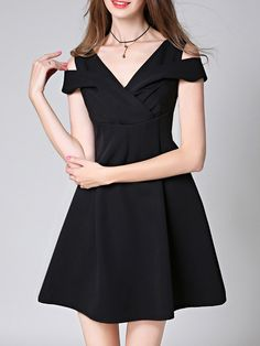 Buy it now. Black V Neck Open Shoulder A-Line Dress. Black V neck Sleeveless Polyester A Line Short Plain Fabric has no stretch Summer Casual Day Dresses. , vestidoinformal, casual, camiseta, playeros, informales, túnica, estilocamiseta, camisola, vestidodealgodón, vestidosdealgodón, verano, informal, playa, playero, capa, capas, vestidobabydoll, camisole, túnica, shift, pleat, pleated, drape, t-shape, daisy, foldedshoulder, summer, loosefit, tunictop, swing, day, offtheshoulder, smock, p...