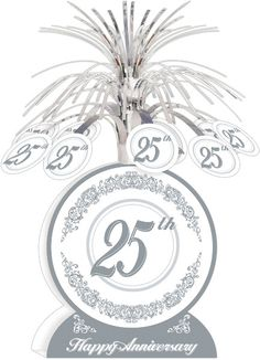 25th Anniversary Silver Foil Centerpiece, 7'' x 13'' | 1 ct