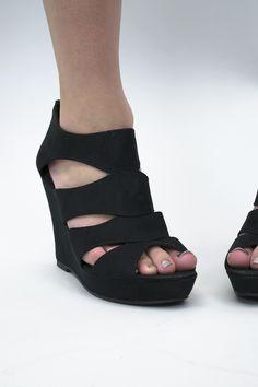 Black Beauty Wedge Shoes