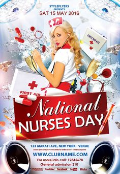 Free red party flyer psd template club for Nurses week flyer templates