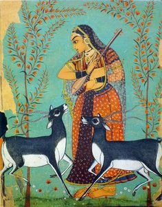 Ragini Todi Pratapgarh, Rajasthan, circa 1710 A., National Museum, New Delhi Mughal Miniature Paintings, Mughal Paintings, Indian Paintings, Art Paintings, European Paintings, Abstract Paintings, Landscape Paintings, Indian Folk Art, Indian Artist