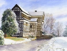 Little Moreton Hall, Cheshire. A watercolour by Sylvia Twiss Watercolour Tutorials, Watercolor Artists, Watercolor Techniques, Watercolor Paintings, Watercolours, Little Moreton Hall, Art Courses, Art Uk
