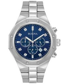 Bulova Men's Chronograph Diamond Accent Stainless Steel Bracelet Watch 44mm 96D138   macys.com