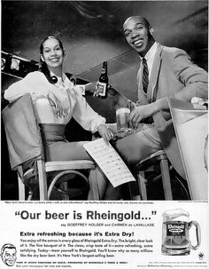 Geoffrey Holder and Carmen DeLavallade for Rheingold Beer Advertisement - Ebony Magazine, July, 1960