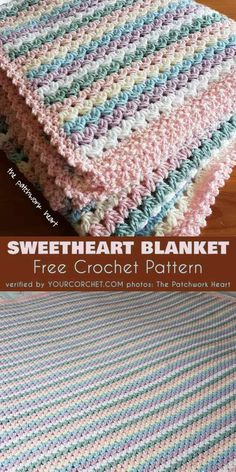 Sweetheart Baby Blanket Free Crochet Pattern and Tutorial Easy and Quick Pattern, good for last minute gift, baby shower, beginner project. #freecrochetpatterns #crochetblanekt #babyblanket