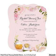 Pink Floral Teacup Bridal Shower Invitation