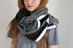 our handmade stripe and dot snap button union scarf. :)
