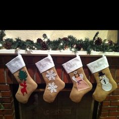 Our new burlap Christmas stockings Holiday Ideas, Christmas Ideas, Christmas Crafts, Christmas Decorations, Holiday Decor, Burlap Christmas Stockings, Burlap Stockings, Stocking Ideas, Mom And Dad