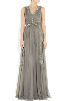 Alberta Ferretti gown: anthracite sheer tulle, floral embroidery and bead embellishment, V-neck, soft pleats throughout, internal slip, fully lined. Concealed zip fastening at side. 70% rayon, 30% polyamide; lining1: 100% polyamide; lining2: 100% silk. Dry clean. Designer color: Gray.