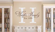 Elegant Family Wall Decal - Family Monogram - Vinyl Wall Decal