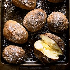 Everyones favourite winter-warmer - the classic baked potato. We love it with butter, sour cream and chopped chives, but it's also great with bacon and cheese. | Classic autumn recipes | Head over to our website at http://www.redonline.co.uk for this recipe and more.