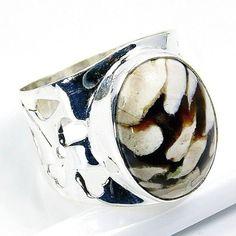 Sterling Silver Peanut Jasper Carved Ring Size 7