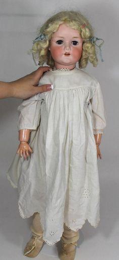 Lrg 28inch Antique C.M. BERGMANN German Bisque Head Doll, 1916 10a No Reserve