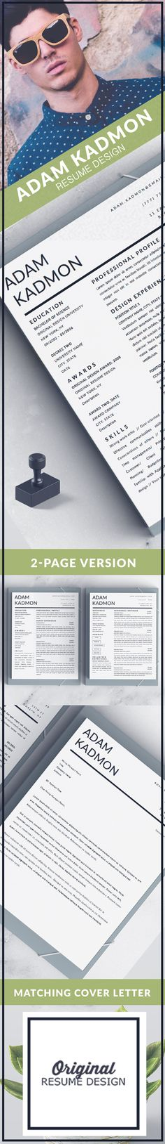Modern resume template for Microsoft Word. The Adam Kadmon design features 1 and 2 page versions and a matching cover letter.
