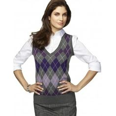Lynnie likes this style. Button up under a sweater vest ...