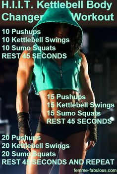HIIT Kettlebell workout - Can alternate between any kind of kettle bell swing - Use it with your Gymboss Timer! Set your timer for an appropriate work time interval, and 45 sec interval of rest!! :)