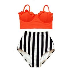Orange Midkini Top and Striped Stripes High Waisted Highwaisted Bottom... ($40) ❤ liked on Polyvore featuring swimwear, bikinis, grey, women's clothing, orange swimsuit, high waisted bikini, high waisted bathing suits, retro swimsuit and swim suits