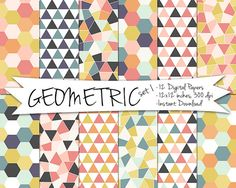 Geometric Digital Paper // Hexagon and Triangle Printable Paper // Instant Download Geometric Paper on Etsy, $4.37 AUD