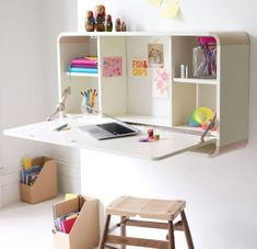 The Flat Mate Desk is an ultra thin modern secretary desk that takes up only .09 square meters when closed.