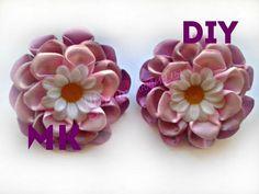 Цветы из лент канзаши \ Flowers of the tapes kanzashi \ мастер класс \ DIY - YouTube